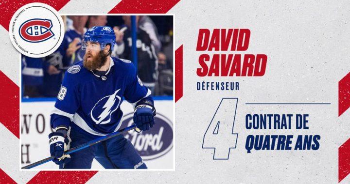 Contrat de quatre saisons pour le défenseur David Savard