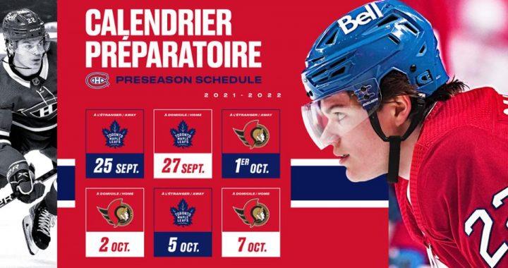 Dévoilement des heures des matchs préparatoires des Canadiens