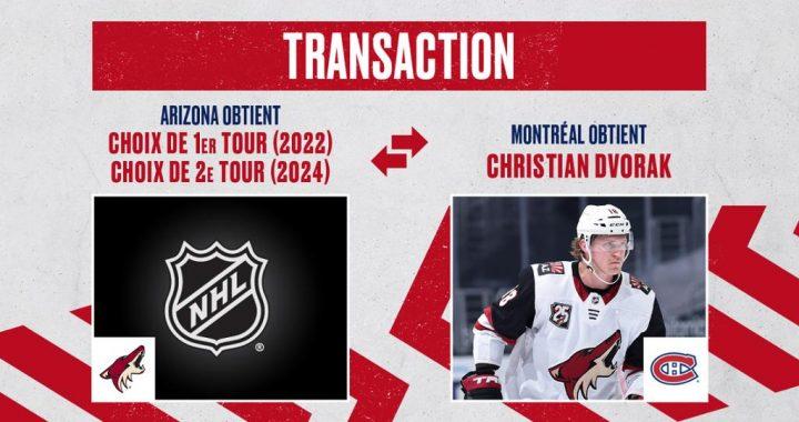 Les Canadiens acquièrent l'attaquant Christian Dvorak