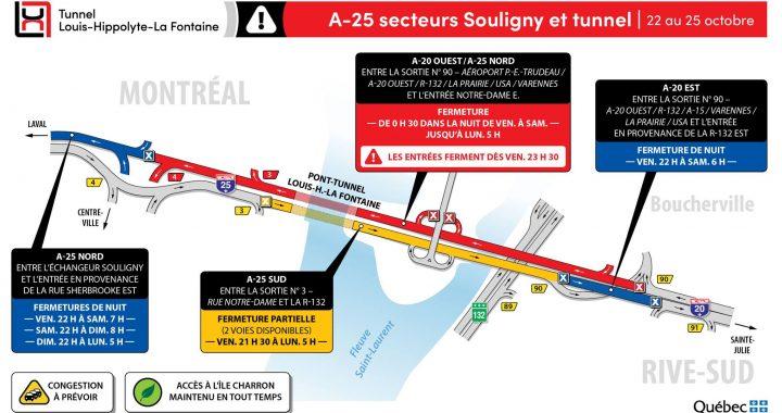 Réfection majeure du tunnel Louis-Hippolyte-La Fontaine – Fermeture complète du tunnel en direction de Montréal – Fin de semaine du 22 au 25 octobre
